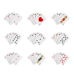 poker playing cards full deck icon set vector image