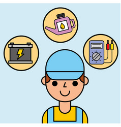 portrait employee car service maintenance vector image