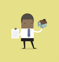 real estate agent holding house and contract vector image