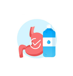 Realistic human stomach icon with water vector