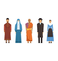 religion people characters in traditional clothes vector image