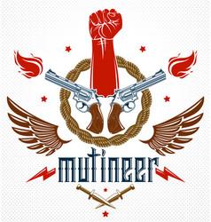 revolution and riot aggressive emblem or logo vector image