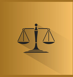 Scales of justice icon with shadow on a yellow vector