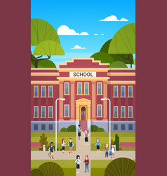 schoolchildren going to school building exterior vector image
