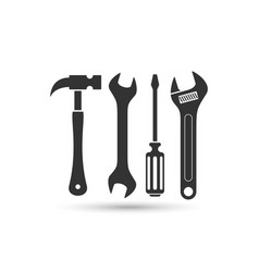 Screwdriver hammer and wrench icon vector