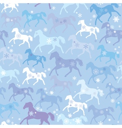 Seamless pattern with wild horses and snowflakes vector image