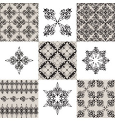 Seamless vintage patterns and their elements vector