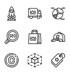 seo engine icon set outline style vector image