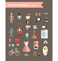 Set of Flat Design Infographic Elements Young vector
