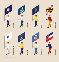 set of isometric usa states standard bearers vector image