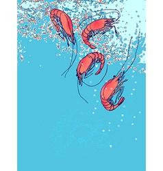 Shrimps in water Drawn sketch doodle Flyer banner vector image