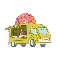 sketch doughnut van in vintage style vector image