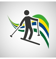 skiing sportsman flag background design vector image
