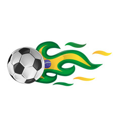 soccer ball on fire with brazil flag vector image