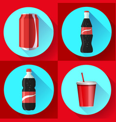 Soda bottle set with red lable flat icon vector