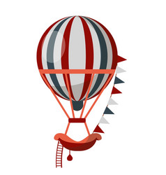 striped air balloon with ladder isolated on white vector image