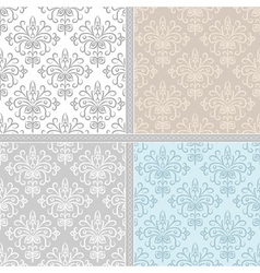 Summer floral seamless pattern set vector image