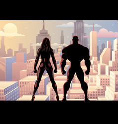 superhero couple watch day 2 vector image