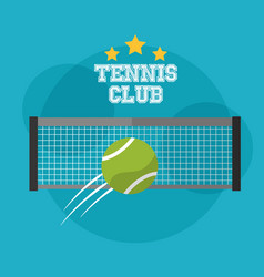 tennis club grid and speed ball sport emblem vector image