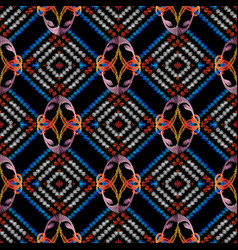 tribal embroidery abstract seamless pattern vector image