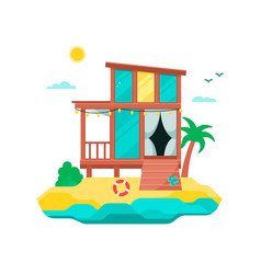 Tropical landscape with bungalow on coast vector