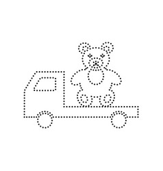 Truck with bear black dotted icon on vector