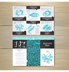 Vintage chalk drawing seafood menu design vector
