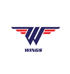 w letter wings symbol vector image