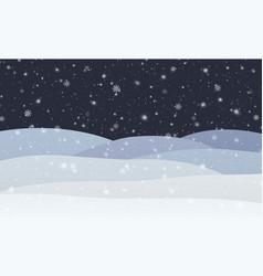 winter snowfall with snowflakes at night cold vector image