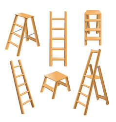 Wooden ladders realistic set vector