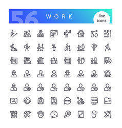 work line icons set vector image
