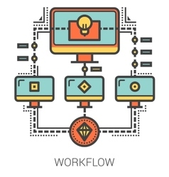 Workflow line infographic vector