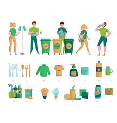 zero waste sorting set vector image