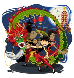 Chinese New Year Dragon Dance vector image vector image