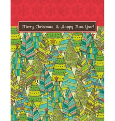 Christmas background with forest of christmas tree vector