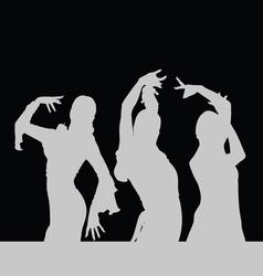 flamenco dance girl silhouette on black vector image