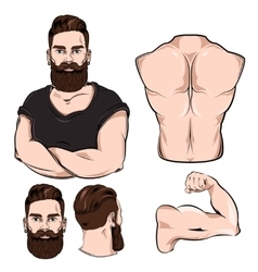 Male Body Parts For Tattoo Set vector image vector image