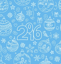 New year greeting card Doodle elements vector image