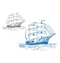 Sailing brig in ocean under full sail vector image