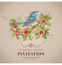 Spring Bird -Vintage Card - hand-drawn vector image vector image