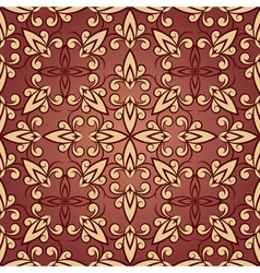 Vintage seamless floral ornament in red vector