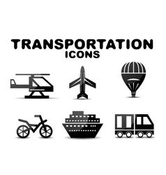 Black glossy transportation icon set vector image