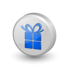 Blue gift icon vector image vector image