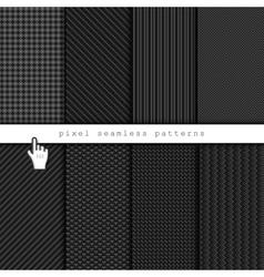 Dark pixel seamless patterns vector image