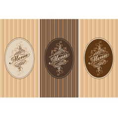 menu on striped background vector image