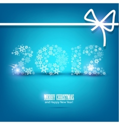 new year card 2012 made from snowflakes christmas vector image