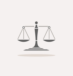 scales of justice icon with shadow on beige vector image vector image