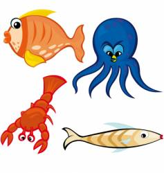 sea life characters vector image vector image