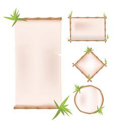 bamboo border frame template design vector image