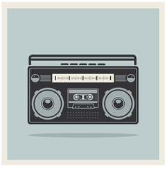 Classic 80s boombox on Retro Background Icon vector image